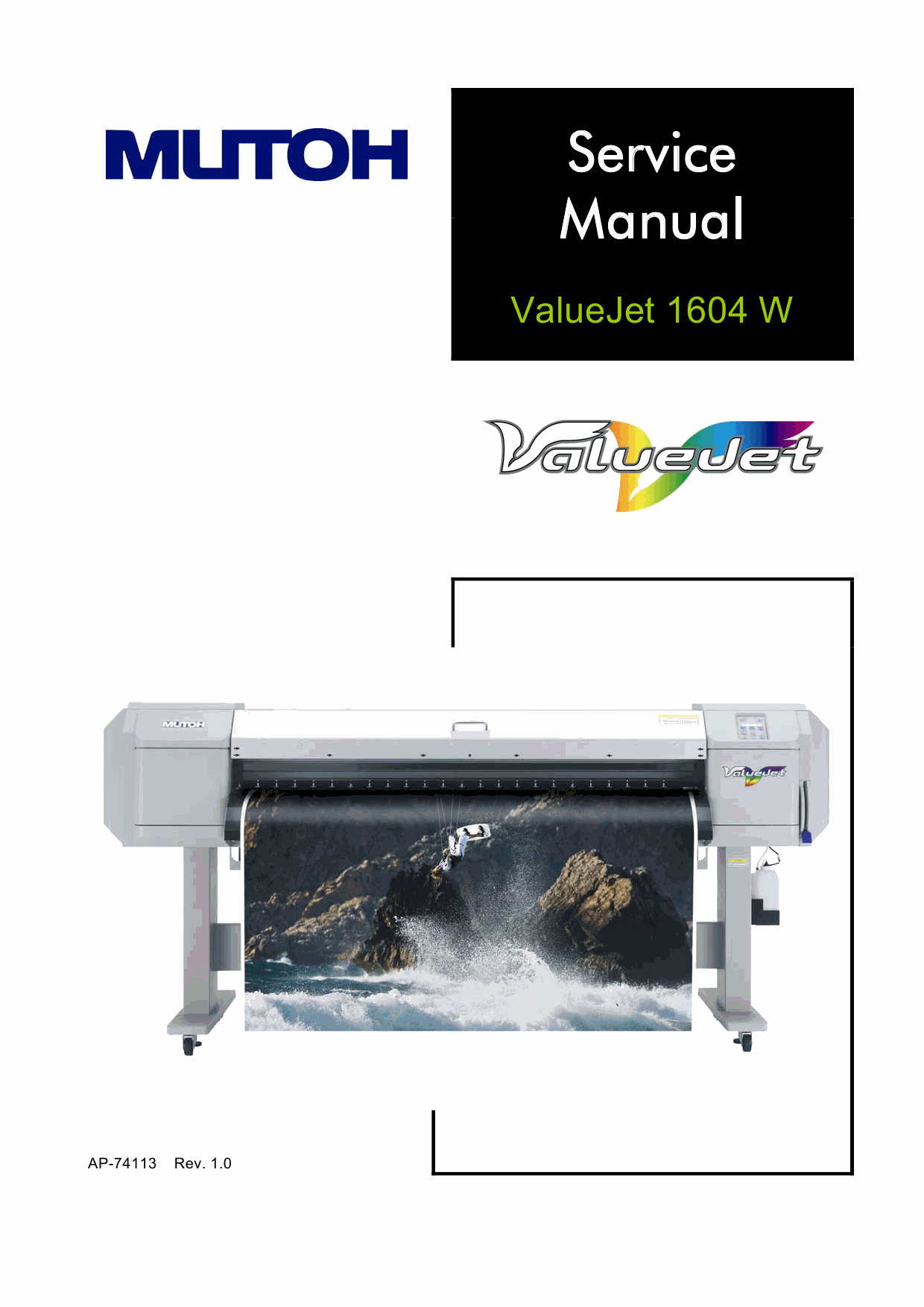 MUTOH ValueJet VJ 1604W W1 W2 Service and Parts Manual-1